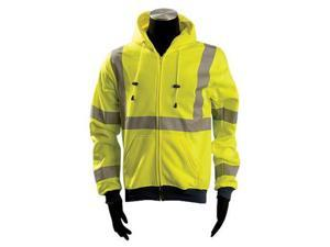 "OccuNomix Medium Hi-Viz Yellow OccuLux Premium 9.4 oz Wicking Polyester Class 3 Hoodie Sweatshirt With Front Zipper Closure, 3M Scotchlite 2"" Reflective Tape,"