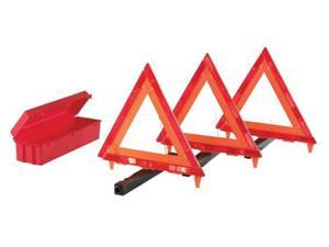 Cortina Safety Products Fluorescent Orange Acrylic 3-Piece Triangle Warning Kit With (3) Triangles in Living Hinge Box