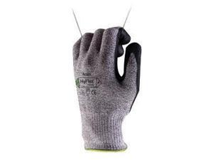 Ansell Size 9 HyFlex 13 Gauge Medium Weight Cut And Abrasion Resistant Dark Gray Water Based Polyurethane Palm Coated Work Gloves With Gray Dyneema, Lycra, Nylon, Glass Fiber Liner And Knit Wrist