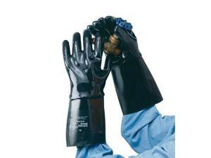 """Ansell Size 10 Large Black Neox 14"""" Fleece/Jersey Lined Neoprene Fully Coated Chemical Resistant Gloves With Smooth Finish And Gauntlet Cuff"""