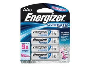 Energizer Ultimate e2 1.5 Volt AA Cylindrical Lithium Battery (8 Per Card)