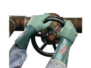"""Ansell Size 10 Green Scorpio 12"""" Interlock Knit Lined 15 mil Neoprene Fully Coated Heavy Duty Chemical Resistant Gloves With Rough Finish And Gauntlet Cuff"""