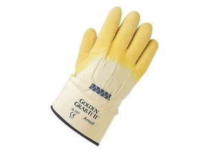 Ansell Size 10 Golden Grab-It II Heavy Duty Cut Resistant Natural Rubber Latex Palm Coated Work Gloves With Jersey Knit Liner And Safety Cuff