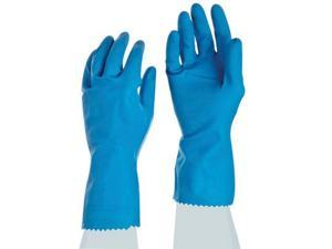 """Ansell Size 9 Sky Blue FL100 12"""" Cotton Flock Lined 17 mil Unsupported Natural Rubber Latex Chemical Resistant Gloves With Fishscale Grip Finish And Pinked Cuff"""