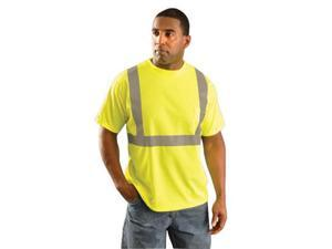 """OccuNomix X-Large Hi-Viz Yellow Classic Birdseye Light Weight Wicking Polyester Class 2 Standard Short Sleeve T-Shirt With 2"""" Silver Reflective Tape And 1 Pocket"""