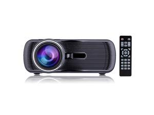 iRULU Portable Multimedia 1000 Lumens Mini LED Projector with VGA USB SD AV HDMI for Home Cinema Theater Child Games Black