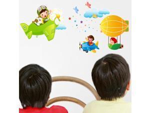 Cartoon kindergarten children room wall stickers Lovely toy plane wall stickers air wall stickers AM012