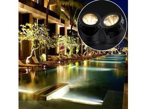 Solar Garden Lawn Pool Waterproof Underwater LED Spotlight with Flash Mode (Double Lamps) Warm White