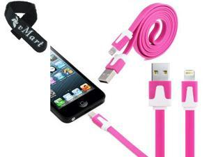8 Pin USB Noodle Data Sync Charger Cable Cord for iPhone 6 6S iPhone 5 5s iPod Touch Lightning Connector to USB Cable compatible with the newest iOS 9 and beyond - Charge and Sync Cable