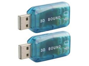 New 2x USB 2.0 to 3D Mic/Speaker 5.1 Audio Sound Card Adapter