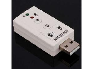 New USB To 3D Audio Sound Card Adapter Virtual 7.1 CH White