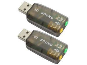 2 X USB Sound Adapter Card External Audio 3D Virtual 3.5mm Jack Plug & Play
