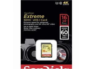 2*SanDisk 16GB 16G SDHC Extreme 60MB/s UHS Class 3 U3 SD 400X Class 10 C10 Memory 4K Card SDSDXN