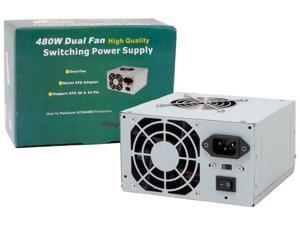 Logisys PS480D2 480W Watt 20+4pin Dual Fan ATX PC Computer Power Supply PSU NEW