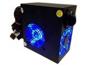 700 Watt 700W Power supply Dual 80MM 8CM Blue LED Fans 115/230V Dual +12V NEW
