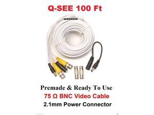 Q-SEE QS100B 100FT Extension CCTV Surveillance Security Camera BNC&Power Cable