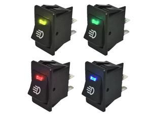 4Pcs 12V 35A Universal Car Fog Light Rocker Switch LED Dash Dashboard 4Pin Sales