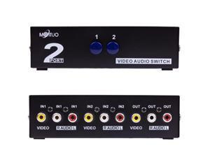 Video Audio RCA AV Switch Selector Box Splitter 2 Ports