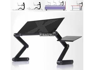 Foldable 360°Adjustable  laptop Notebook N-ew magnesium and aluminum alloy Desk Black Table Fan Hole Stand Bed Tray(no fan)