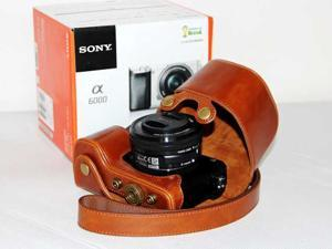 Camera Leather Case Pouch Bag for Sony A6000 16-50mm lens with Strap