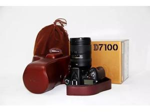 Genuine real COW leather Camera case bag for Nikon D7100 with strap