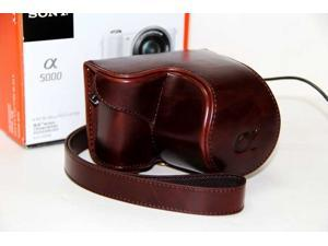 Protective Leather Camera Case Bag Cover w/ Strap For Sony A5000 16-50mm