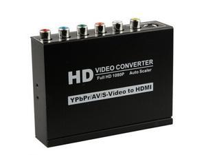 HD 1080P Composite  YPBPR RCA R/L AV S-Video to HDMI Video Converter Adapter Auto Scaler
