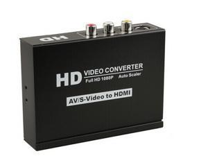 Composite AV S-Video Audio Video to HDMI Converter Upscale Adapter For DVD HD PS3