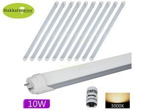 10 x T8 LED Tube Light Lamp 10W G13 Base Warm / Soft White 2800K-3000k AC110V 2 feet 60Cm 0.6M 23.62'' SMD2835 20W CFL tubes Equal