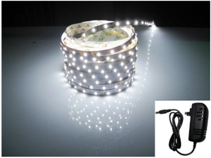 LED3528 300Plug-N-Play Waterproof White (6500K) Flexible Light Strip, 2A@12VDC, 24Watt,16.4 Ft, Wire Jumper Included, Power Supply Included