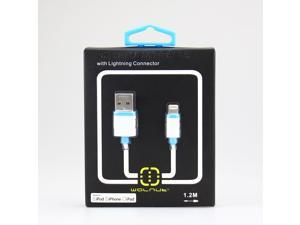 Walnut Lightning to USB Cable 4ft/1.2m with Ultra-Compact Connector Head - Blue