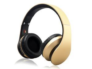 iRunzo On Ear Stereo Wireless Bluetooth Headsets Headphones with Mic 3.5mm Jack FM Radio TF Memory Card MP3 Noise Canceling Folding Strech for iPhone LG Samsung Sony PC Xbox Ps4 Gaming Sports(Golden)