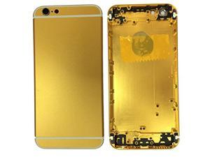 24k Gold Middle Frame Metal Back Battery Door Housing Case Cover Repair Replacement with LOGO&Side Button&Sim Tray For iPhone 6 4.7""