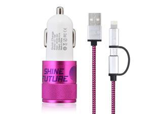 Car Charger Dual 2 Port Car Charger  Adapter + 59 inch 2 in 1 Sync and Charge Cable Microusb Cable Connectors for Iphone 6 6plus 5s 5c 5, Ipad Air2 Mini Mini2 Mini3, Ipad 4th Gen and Android-Hot Pink