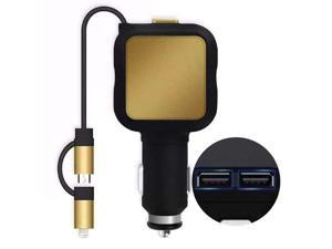 Car charger, Shinefuture 2 Port 4.8A Dual USB Car Chargers + 2-in-1 Retractable Cable for Iphone 6S Plus 5S 4S Samsung Galaxy S7 Edge S6 S5 Note and Other IOS or Android Devices