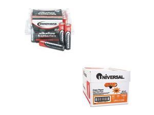 Shoplet Best Value Kit - Innovera Alkaline Batteries (IVR11124) and Universal...