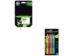 Shoplet Best Value Kit - HP 564XL (HEWCB325WN) and Sharpie Retractable Highli...