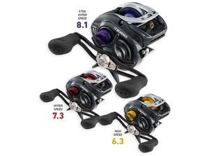 Daiwa's new Fuego 100 bait casting reel has a precision machined aluminum frame with twelve bearings. Available in 6.3:1, 7.3:1, and 8.1:1 gear ratios in both left and right hand retrieves