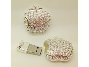 crystal apple 8 gb, 16 gb and 32 gb and 64gb flash drive usb 2.0 pen/gift necklace U disk/memory