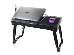 DG Sports Multi-Functional Laptop Table Stand with Internal Cooling Fan and Built-In LED Light - Black