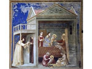 """Giotto Di Bondone Scenes from the Life of the Virgin: 1. The Birth of the Virgin (Cappella Scrovegni (Arena Chapel), Padua) - 16"""" x 16"""" Premium Canvas Print"""