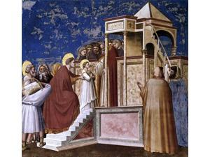 "Giotto Di Bondone Scenes from the Life of the Virgin: 2. Presentation of the Virgin in the Temple (Cappella Scrovegni (Arena Chapel), Padua) - 16"" x 16"" Premium Canvas Print"