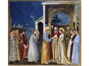 "Giotto Di Bondone Scenes from the Life of the Virgin: 5. Marriage of the Virgin (Cappella Scrovegni (Arena Chapel), Padua) - 16"" x 20"" Premium Canvas Print"