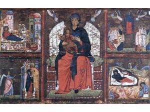 "unknown (4) Masters Virgin and Child Enthroned with Scenes from the Life of the Virgin - 16"" x 24"" Premium Canvas Print"