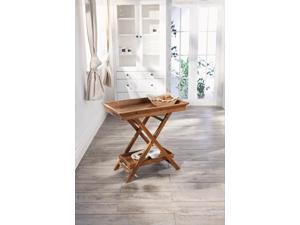 Foldable Wooden Serving Tray / Butlers Tray w/ Stand and Bottom Shelf