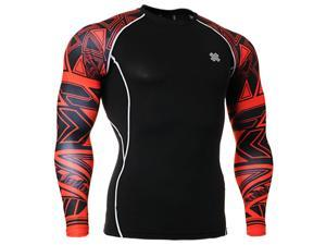 Fixgear Compression skin tight red printed base layer t shirt black S~4XL