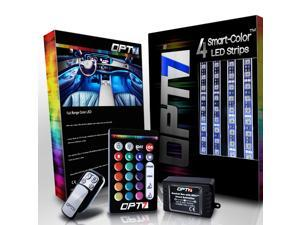 OPT7 Aura Car Interior LED Lighting Glow Kit - Full Color Spectrum, 4 Smart-Color Strips, Plug N Play, E-Z Remotes