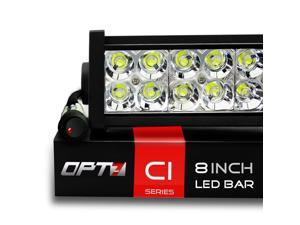 "OPT7 C1 Series 8"" Off-Road LED Light Bar w/ Power Harness and Switch - 36W Spot Auxiliary ATV SidexSide Boat Marine Work Lamp"