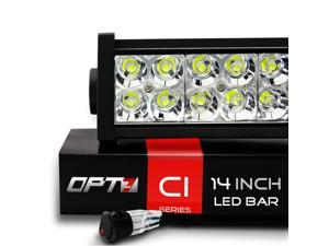 "OPT7 C1 Series 14"" Off-Road LED Light Bar w/ Power Harness and Switch - 72W Spot Auxiliary ATV SidexSide Boat Marine Work Lamp"