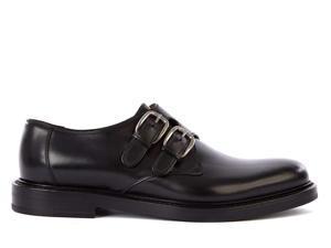 Gucci men's classic leather formal shoes slip on monkstrap varenne black